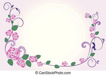 結婚式, 花, 招待, 挨拶, カード, ベクトル, デザイン