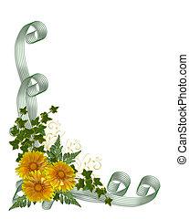 結婚式, 花, 黄色, 招待