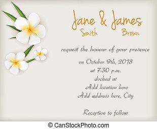 結婚式, 花, plumeria, 招待