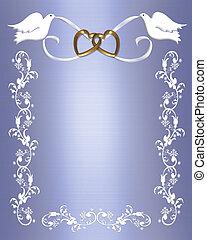 結婚式, 鳩, 上に, 青い朱子織