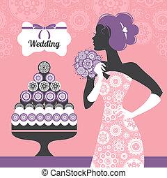結婚式, invitation., 花嫁, シルエット, 美しい