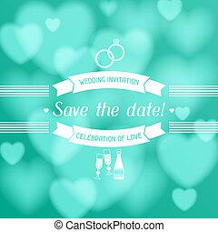 結婚式, style., レトロ, カード, 招待
