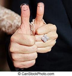 結婚戒指, 上, 她, 手指, 繪, 由于, the, 新娘和新郎