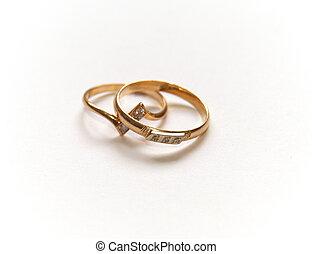 結婚戒指, 二, 金, white.