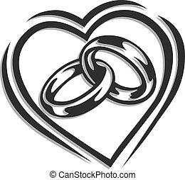 結婚指輪, 中に, 心