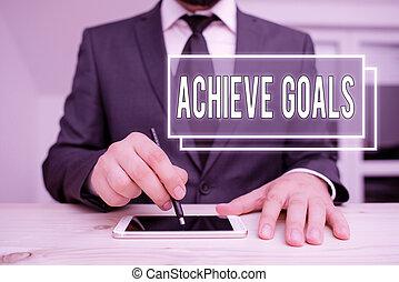 結果, リーチ, ターゲット, 概念, テキスト, 手書き, 意味, 計画, 目的を達しなさい, goals., 執筆, 効果的である, succeed., oriented