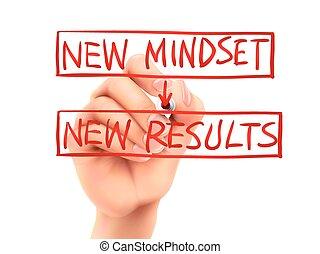 結果, 書かれている手, 言葉, 新しい, mindset