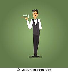 給仕, タイ, クラブ, カジノ, マレ, イラスト, 弓, ウエーター, 相場師, 関係した, 夜, ギャンブル, ...