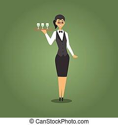 給仕, タイ, クラブ, カジノ, 関係した, 弓, ウエーター, 相場師, イラスト, 女性, 夜, ギャンブル, ...