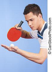 給仕, テニス, 若い, 確信した, 男性, テーブル, 遊び, ball.