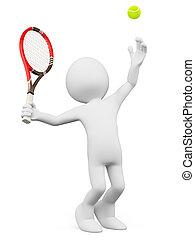 給仕, 人々。, テニスプレーヤー, 白, 3d