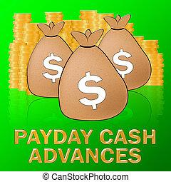 給料日, 先払い現金, 手段, ドル, ローン, 3d, イラスト