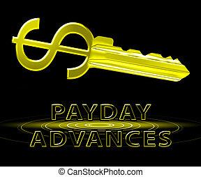 給料日, 進む, 手段, 現金, ローン, 3d, イラスト