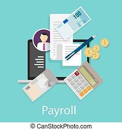 給料, お金, 計算機, 給料支払い名簿, 支払い, 会計, 賃金, シンボル, アイコン