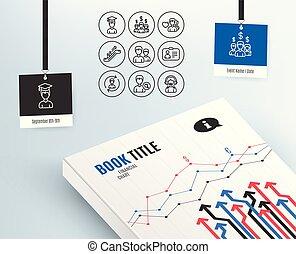 給料, 捜索しなさい, 人間の人々, カード, icons., 従業員, 資源, 学生, id, signs., エスカレーター
