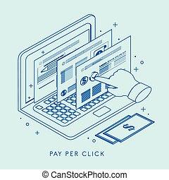 給料, 概念, クリック, イラスト, につき
