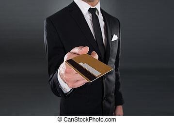 給, 信用, 中部, 卡片, 商人