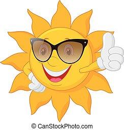 給, 太陽, 拇指, 卡通, 向上