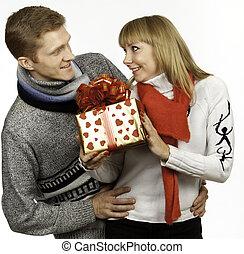 給, 婦女, 禮物, 人