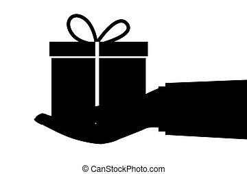 給, 白色, 矢量, 手, 禮物, 被隔离, 黑色半面畫像