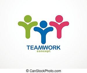 統一, ∥あるいは∥, 概念, 要素, アイコン, 協力, チームワーク, 合併した, 人々, 友情, チーム, ...