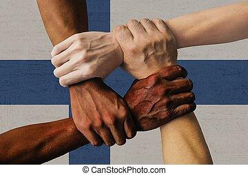 統合, グループ, 人々, フィンランド, multicultural, 若い, 隔離された, 旗, 多様性