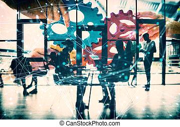 統合, 連結しなさい, チーム, さらされること, 効果, 小片, チームワーク, 協力, concept., ビジネス, ネットワーク, gears., ダブル
