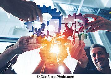 統合, 連結しなさい, チーム, さらされること, 効果, 小片, ライト, チームワーク, 協力, concept., ビジネス, gears., ダブル