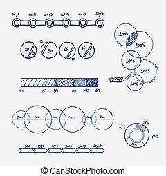 統計量, 金融, ビジネス, いたずら書き, -, チャート, グラフ, 手, analytics, 概念, infographics, 引かれる, elements.