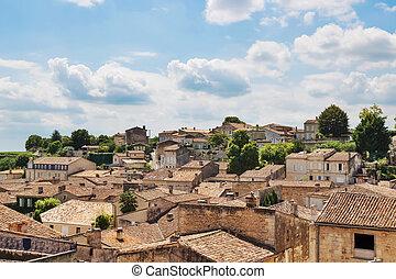 絵のよう, 上に, フランス, セイント - emilion, 屋根, 光景