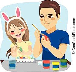 絵画卵, イースター, 家族