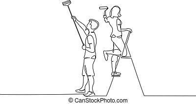 絵, スティック, 恋人, 使うこと, 男の女性, 壁, ローラー