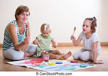 絵, ペンキ, 子供, 母