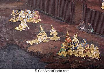 絵, 仏, 寺院, 壁画, エメラルド
