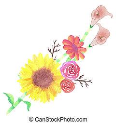 絵, 他, ひまわり, 花, ばら, 水彩画