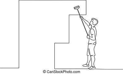 絵, 使うこと, 人, 図画, 壁, 線, stick., ローラー, 絶え間がない, 1(人・つ)