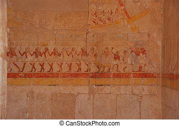 絵, 寺院, エジプト人