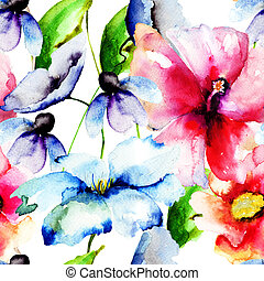 絵, 水彩画, 美しい, 花