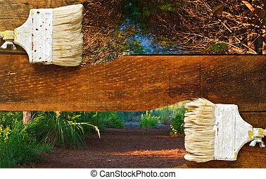 絵, 自然, 上に, 古い, 木製の板