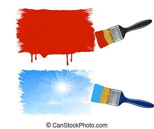 絵, 2, 旗, ペイントブラシ