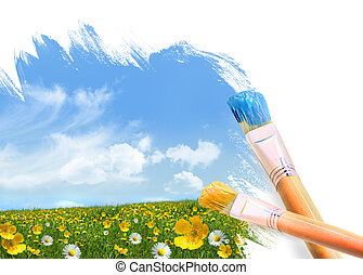 絵, a, フィールド, フルである, の, 野生の 花