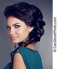 絹のようである, 女, 巻き毛, 構成しなさい, グレーの髪, ブルネット, 背景, 光沢がある, 上に, sensual