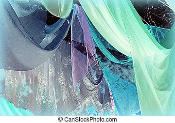 絹, 有色人種, ひだのある布