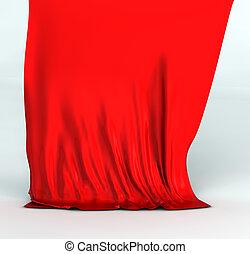 絹, 赤, ひだのある布