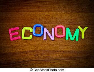 經濟, 在, 鮮艷, 玩具, 信件, 上, 木頭, 背景