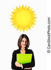 經理人, 女商人, 陽光充足的日