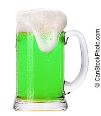 綠色的啤酒, 被隔离, 上, a, 白色