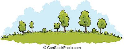 綠色的小山, 風景