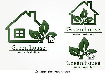 綠色的房子, logo., 能量, 保留, concept., 矢量, illustration.
