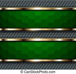 綠色的背景, 六邊形